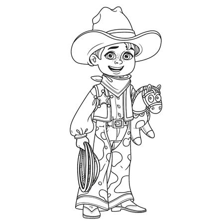 Cute boy in cowboy costume outlined for coloring page