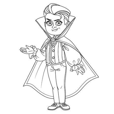 Cute boy in vampire costume outlined for coloring page