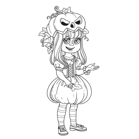 Cute girl in pumpkin costume outlined for coloring page Ilustração