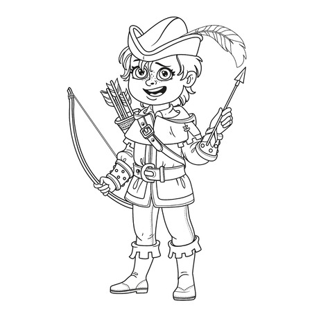 Cute boy in Robin Hood costume outlined for coloring page Illustration