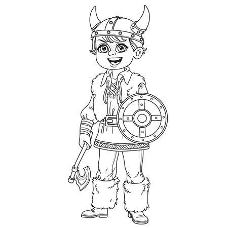 Il ragazzo sveglio in costume di viking ha descritto per la pagina di coloritura su un fondo bianco. Archivio Fotografico - 87394567