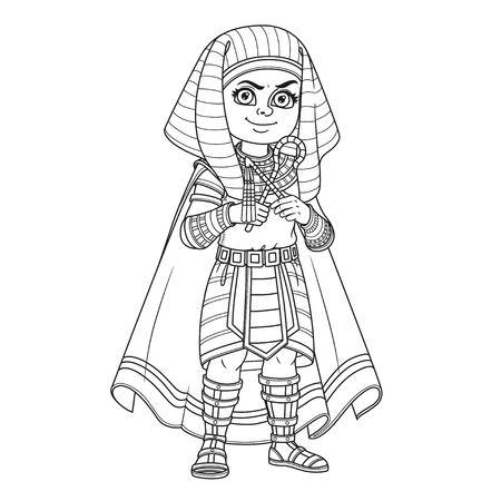 Leuke jongen in Egyptische farao kostuum Stock Illustratie
