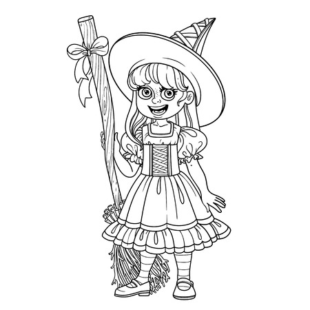 Cute girl in witch costume outlined for coloring page
