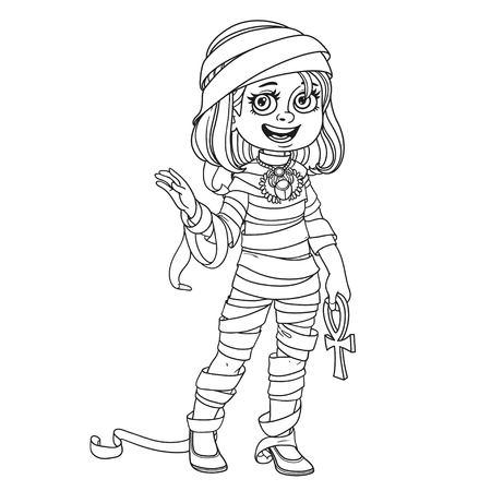 Leuk meisje in mummiekostuum Stock Illustratie