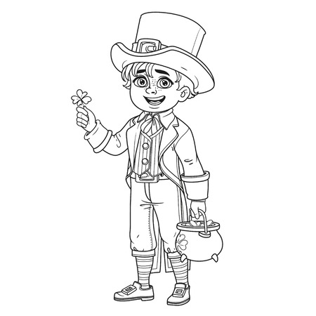 Cute boy in leprechaun costume with a pot of gold outlined for coloring page