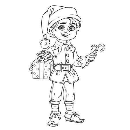 Cute boy in elf Santas assistant costume outlined for coloring page
