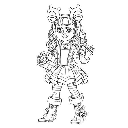 새해의 사슴 의상을 입은 귀여운 소녀