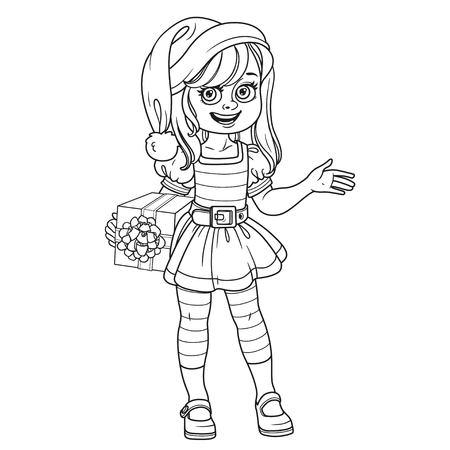 着色のページで説明したエルフ サンタ アシスタント衣装でかわいい女の子  イラスト・ベクター素材