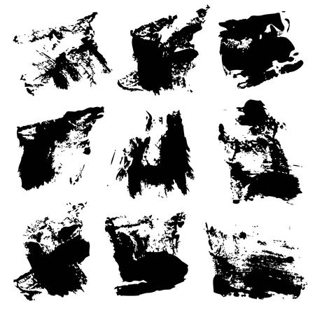 wet paint: Black textured brush strokes isolated on a white background. Illustration