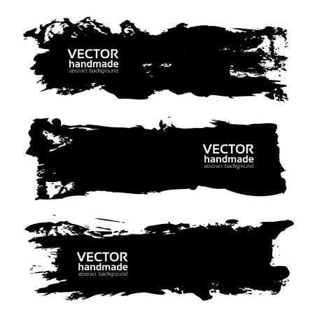 wet paint: Big black long brush strokes isolated on a white background.