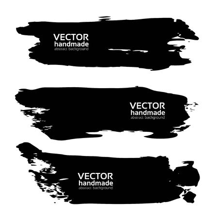 wet paint: Abstract big black long brush strokes isolated on a white background. Illustration