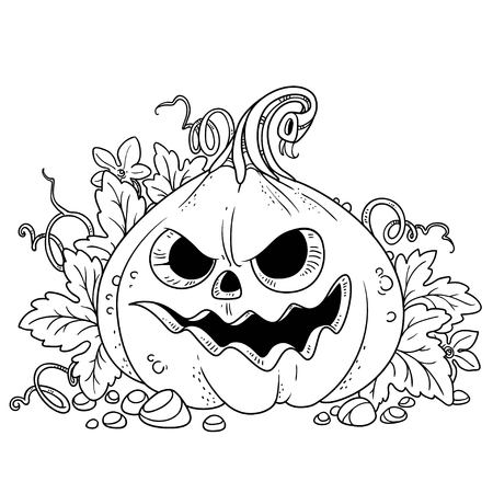 Lantern from pumpkin with the cut out of a grin and leaves outlined for coloring page Фото со стока - 87794156