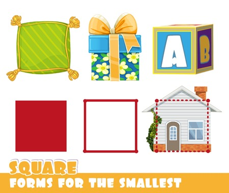 Square and objects having a Square shape. Ilustração