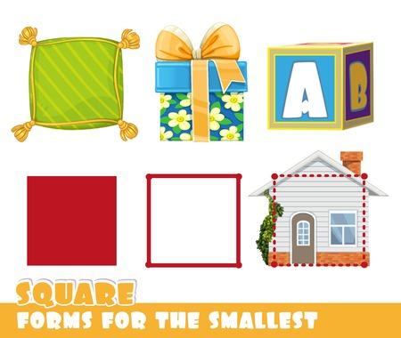 Vierkant en objecten met een vierkante vorm.