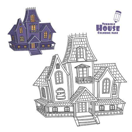 Heksenhuiskleur en geschetst voor het kleuren van pagina Stock Illustratie