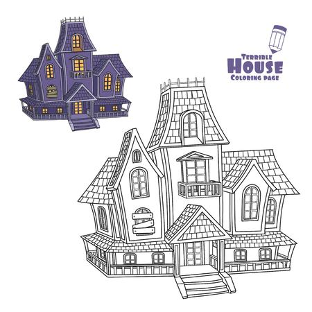 Witch house color and outlined for coloring page