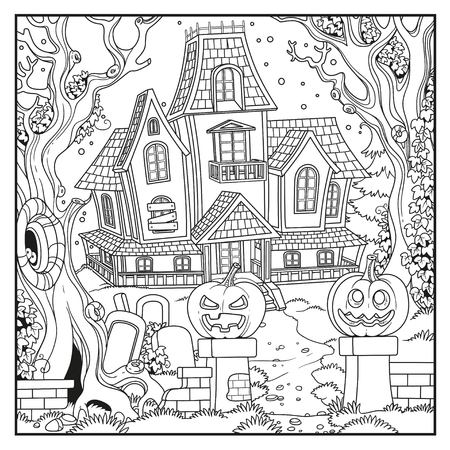 Halloween with Witch house outlined for coloring page
