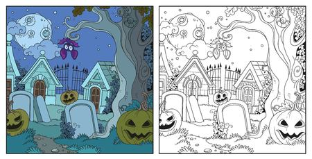 Halloween cemetery and crypts with pumpkins color and outlined for coloring page.