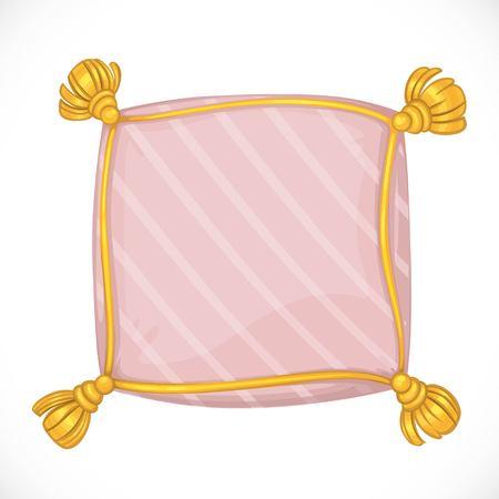 タッセル付きピンクの正方形の枕。
