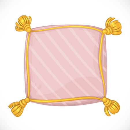 Pink square pillow with tassels. Illustration