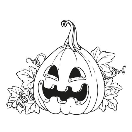 Lantern from pumpkin outlined for coloring page Фото со стока - 87794206