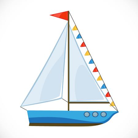 Toy yacht with a large triangular sail and flags.