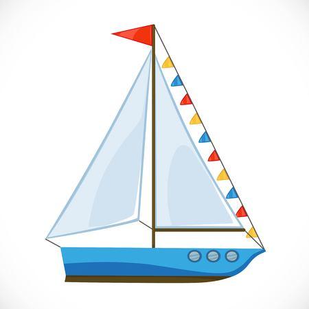 Yacht giocattolo con una grande vela triangolare e bandiere. Archivio Fotografico - 87794217