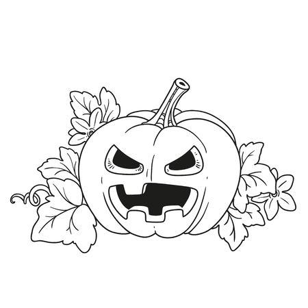 Laterne aus Kürbis mit dem Schnitt aus einem schrecklichen Grinsen und Blätter für das Ausmalen der Seite Standard-Bild - 87794222