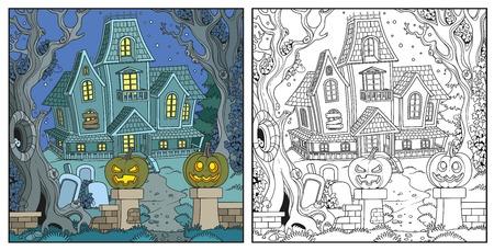 Halloween met heks huis.