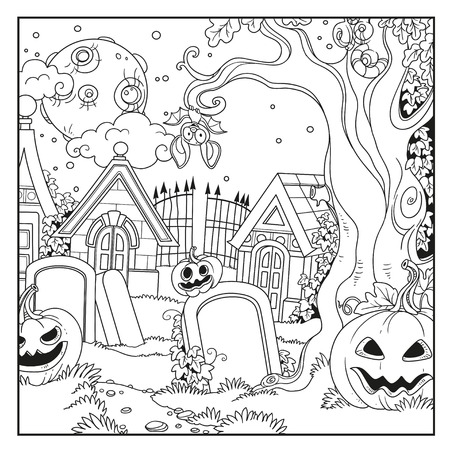 Halloween cemetery and crypts with pumpkins outlined for coloring page.