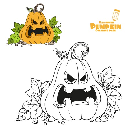 Lantern from pumpkin with the cut out of a grin color and outlined for coloring page