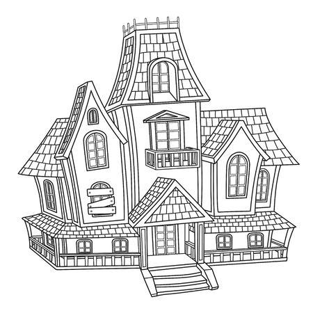Heksenhuis geschetst voor het kleuren van pagina Stock Illustratie