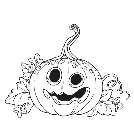 Funny lantern from pumpkin with the cut out of a grin and leaves outlined for coloring page Фото со стока - 87794286