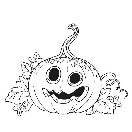 Lustige Laterne aus Kürbis mit dem Ausschnitt aus einem Grinsen und Blätter umrissen für ausmalbilder Standard-Bild - 87794286