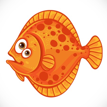 Cute cartoon flounder isolated on a white background