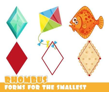Forms for the smallest. Rhombus and objects having a rhombus shape on a white background developing game Ilustrace