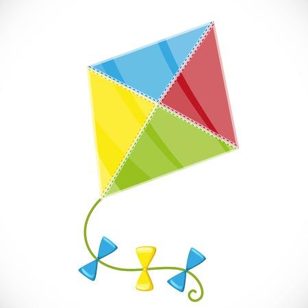 白い背景の上に切り分けた菱形の形の凧