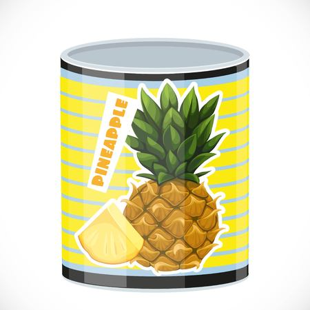 preserved: Tin can with canned pineapple isolated on a white background