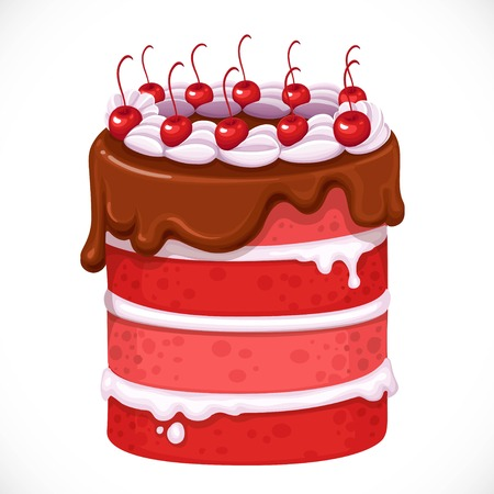 Delicious cake with cherry, glaze and cream isolated on a white background