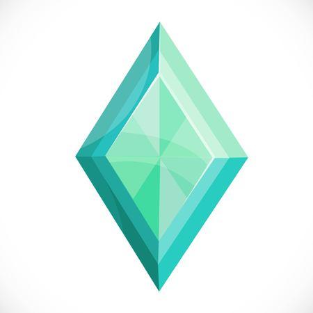 Kostbare groene steen gefacetteerde diamant die op een witte achtergrond wordt geïsoleerd