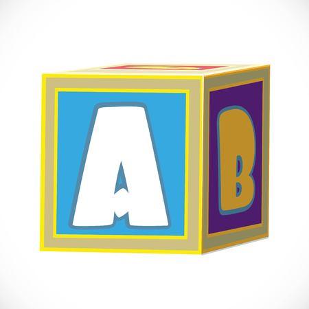 Het stuk speelgoed van kinderen kubus met brieven op een witte achtergrond worden geïsoleerd die Stock Illustratie