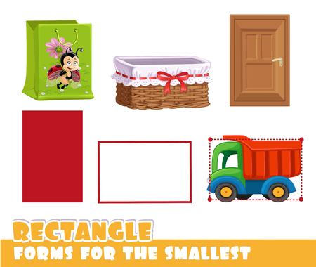 Forms for the smallest. Rectangle and objects having a vertical and horizontal rectangle shape on a white background developing game Иллюстрация