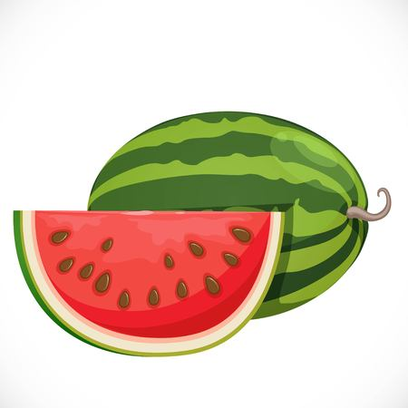 Big ripe juicy watermelon the whole and cut-off piece nearby Imagens - 88501977