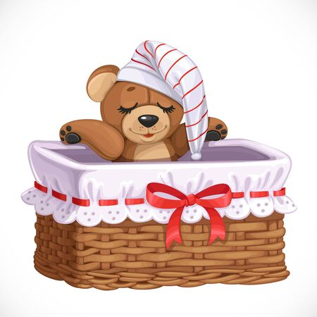 Basket with teddy bear for clothes or toys isolated on a white background