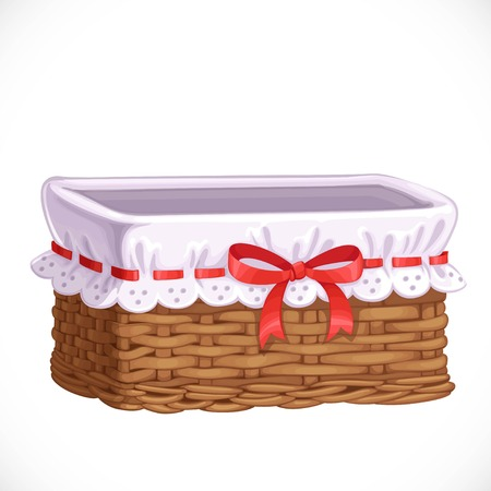 Empty basket for clothes or toys isolated on a white background
