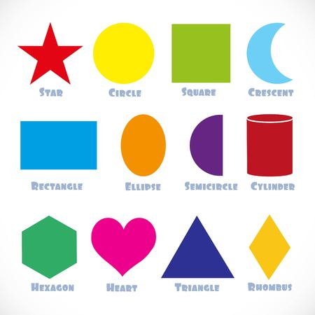 Vector shape sign for the smallest. Rectangle, Hexagon,Star, Rhombus, Triangle, Heart, Circle, Ellipse, Semicircle, Cylinder, Square, Crescent