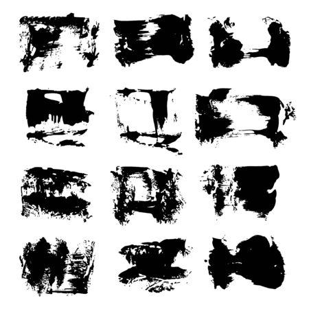 黒の抽象的なブラシ ストローク。  イラスト・ベクター素材