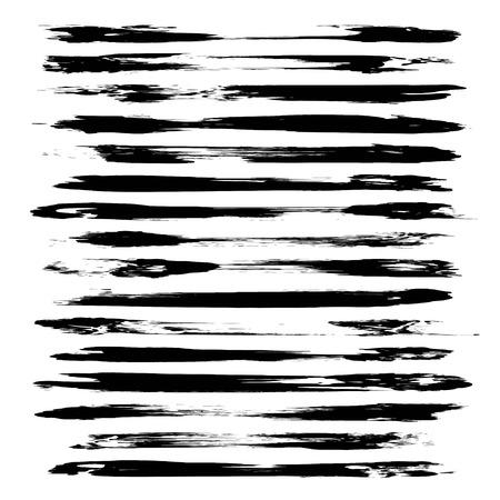 Pennellate lunghe nere astratte. Vettoriali