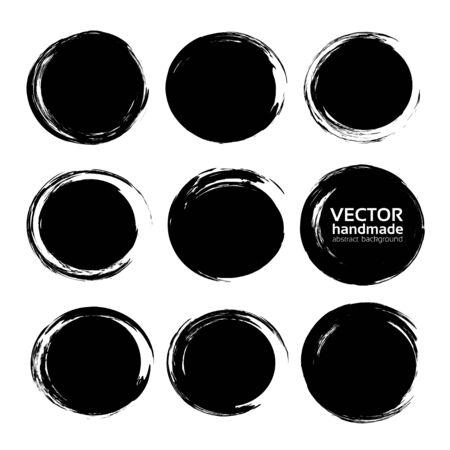 Circle black abstract ink strokes set.