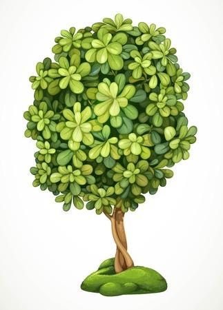 苔で丘の上の妖精の樹。白い背景で隔離の詳細なベクトル図  イラスト・ベクター素材